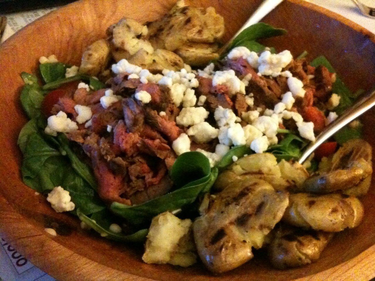 Steak Salad with Corn, Tomatoes, and Grilled Potatoes